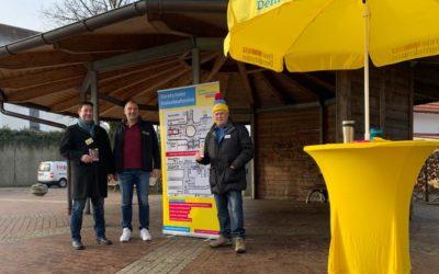 Foto vom FDP-Infostand in Gelting, dem ersten im Kommunalwahlkampf 2020 des örtlichen Ortsverbands