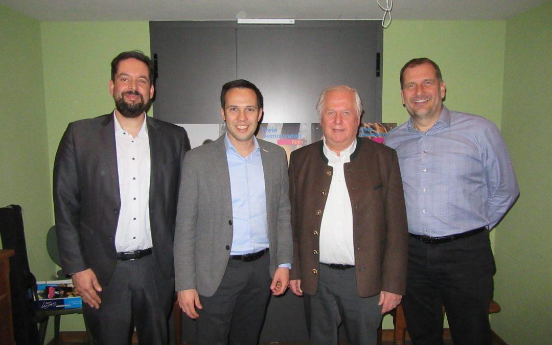 """Diskussionsveranstaltung """"Bayern von morgen"""" mit Martin Hagen, Vorsitzender der FDP-Fraktion im Bayerischen Landtag, und den örtlichen Kommunalwahl-Kandidaten der FDP-Listen"""